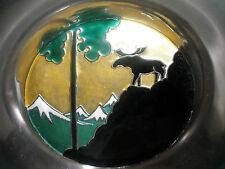O F Hjortdahl 925S Norway Sterling Silver modern enamel tray plate dish moose