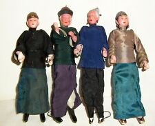 4 ANTIQUE HANDPAINTED CHINESE DOLLS 9 1/2 INCH