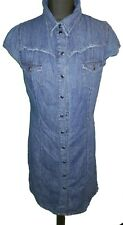 DARK BLUE DENIM BUTTONED DRESS - UK Size 12
