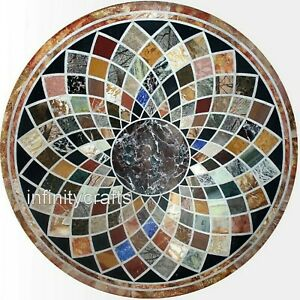 36 x 36 Inches Round Handmade Dining Table Top Multi Gemstone Inlaid Lawn Table