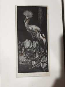 """Lionel Lindsay""""The Crested Crane"""" Wood engraving/block- Signed in pencil (100)"""