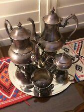 Sheffield Tea Set~ 2 Teapots, Sugar & Creamer ~Silver On Copper, Hallmarked