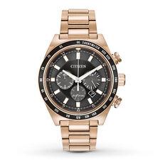 New Citizen Eco-Drive Black Dial Chronograph Rose Tone Mens Watch CA4203-54E