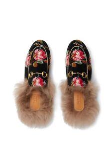 New In Box Gucci Princetown Rose Velvet Lamb Fur Mules Size 37.5EU/7.5US $995.00