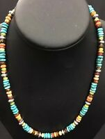 Native American Multi color Turquoise , Spiny Oyster Sterling Silver Necklace.