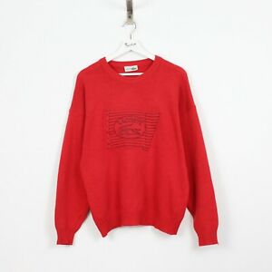 M47 Vtg Chemise Lacoste Men Red Crew Jumper Sweater Wool Acrylic Knit France 5 L