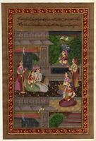 Mughal Miniature Painting Emperor And Empress Enjoying Music Indian Art For Wall