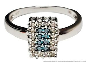 Solid White Gold Blue Teal Irradiated Diamond 0.33ctw Rectangular Ring Size 8