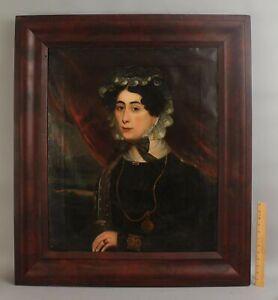 19thC Antique Folk Art Portrait Oil Painting Woman Pocket Watch & Lace Bonnet NR