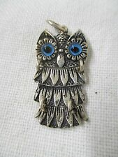 Vintage 800 Silver Owl Pendant blue glass eyes