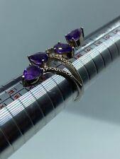 Ornate Fancy Amethyst Set Sterling Silver Gem-set Ring