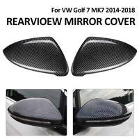2x For VW Golf Mk7 7.5 13-18 Gti Tdi Tsi R Real Carbon Fibre Wing Mirror Cover