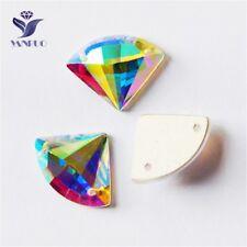 AB Fan Crystals Sector Flatback Strass Rhinestone For Clothes 14x18mm 24pcs