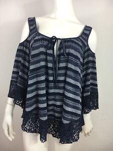 Hazel Cold Shoulder Top L Striped Navy Blue Lace 3/4 Bell Sleeve Boho