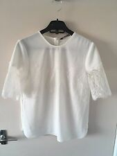 BNWT ZARA White Top with Lace Trim Sleeves Size XS