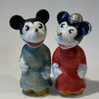 """Set of 2 Vintage 1930s Minnie & Mickey Mouse Figurines 3.5"""" - Blue & Red - JAPAN"""