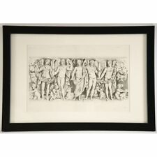 Stunning Framed Antique Roman Engraving of Mythological Figures & Cherubs
