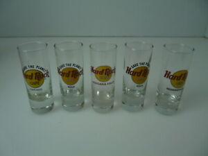 lot 5 unique domestic & international Hard Rock Cafe Shot Glasses