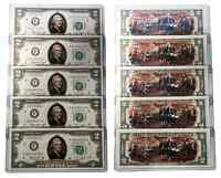1976 BICENTENNIAL Colorized 2-SIDED US $2 Bills * Lot 5 Consecutive Serial #'s *