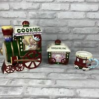 International Bazaar 5 PC Porcelain Bear Train Cookie Jar Car Caboose
