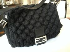 Authentic rare Fendi black crochet popcorn Mama bag