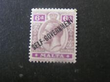 MALTA, SCOTT # 91, VALUE 6p. VALUE DULL VIOLET & RED VIO KGV 1922 OVPT ISS MVLH