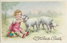 Easter cute girl with sheeps and eggs litho H0017