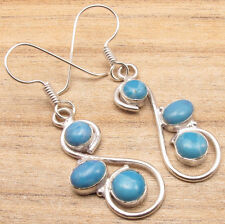 925 Silver Overlay Simulated LARIMAR Gemset Earrings Jewelry LOW PRICE GIFT ITEM