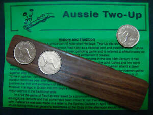 Aussie Two-Up Game set w/ original Australian pennies.