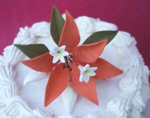 FREE SHIPPING Gum Paste Sugar Orange Lily Stephanotis Leaves Cake Flowers