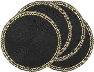 Black Round Placemats With Sparkly Gold Trim Round Table Mats Set of 4 13.5 inch
