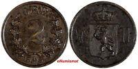 NORWAY Oscar II Bronze 1884 2 Ore Norwegian Lion KEY DATE KM# 353