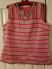 XL/16 Talbots Silk Stiped Pink And Coral Tank,