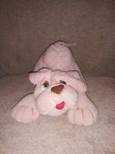 Vintage Prestige Toy Corp Plush Pink Bulldog Blue Eyes 1985