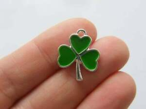 2 Shamrock charms  silver plated tone L227