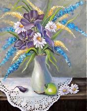 Pretty colorful floral still life in white vase 8x10 print