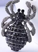 Spider with Black Crystals Vintage Silver Pin Brooch D-5637