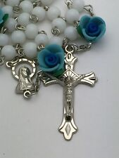 White Catholic Rosary Beads with Blue Rose Beads