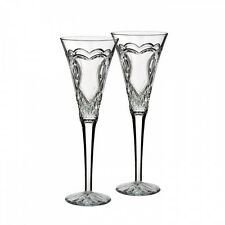 WATERFORD Crystal Wedding Toasting Flute Pair Hearts New # 162833