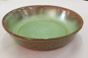 "Frankoma Cattle Brands Deep Serving Pie Dish 94N Prairie Green 8"" Diameter"