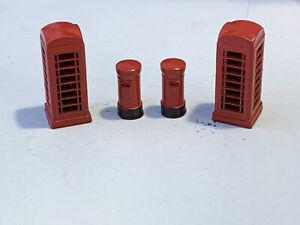 N Gauge N Scale  Telephone box & Postbox set Phonebox Phone box