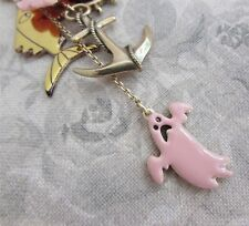 PILGRIM Vintage Necklace Gold & Pink CRAZY Charm Flower Anchor Fish Ghost BNWT