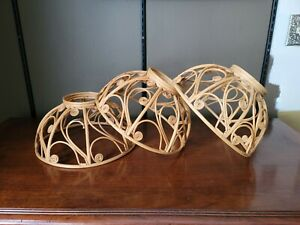 Set Of 3 Bohemian Wicker Globe Pendant Shades c.1970s Baskets Rattan Reed