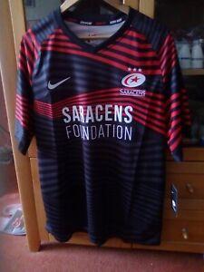 Nike Saracens Short Sleeve Home Black Rugby Shirt Size XL BNWT