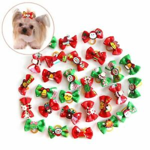 10PC Pet Small Dog Hair Bows Rubber Bands Puppy Cat Grooming Accessory Set