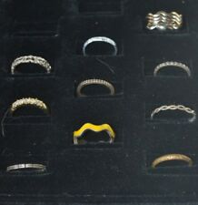 Gold Silver Tone Ring Clear Rhinestone Heart Stone Lot of 13 Size 6 thru 8