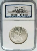 1859 O SS Republic Seated Liberty Half Dollar NGC Shipwreck Silver Treasure Coin