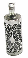 925 Sterling Silver MEZUZAH PENDANT WITH SHEMA YISRAEL SCROLL - Hear O Israel
