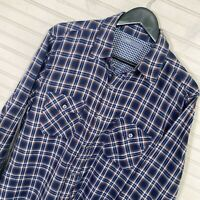 Vince L/S Button Shirt Dark Plaid Flannel 100% Cotton Men's Size L