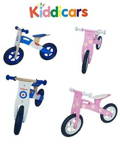 Wooden balance bike by Kiddicars running bike scooter available in 2 designs